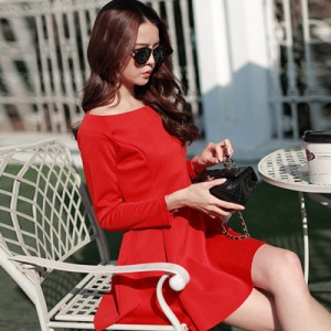 2015-New-Hot-Selling-Spring-Autumn-Korean-Off-Shoulder-Dress-Fashion-Slim-Fitting-Cute-Dress-Big